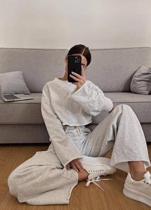 Стильные комплекты base for you с ультрамодными широкими штанами клёш3 фото