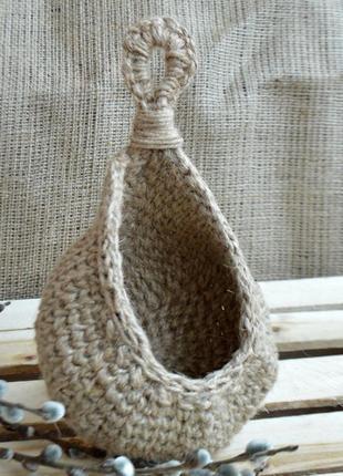 Подвесная корзина - капля из джута