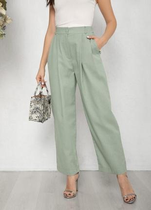Мятные коттоновые свободные брюки