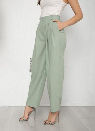 Мятные коттоновые свободные брюки2 фото