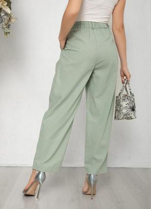 Мятные коттоновые свободные брюки3 фото