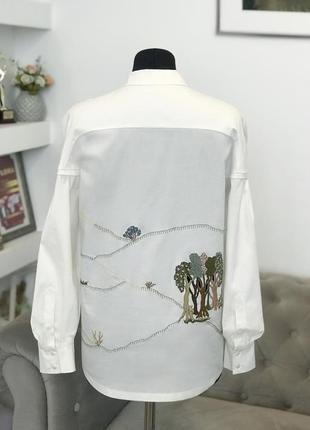 """Белая рубашка с уникальной вышивкой """"шепот деревьев""""4 фото"""