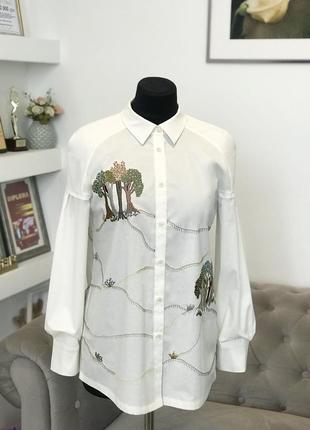 """Белая рубашка с уникальной вышивкой """"шепот деревьев"""""""