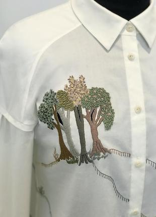 """Белая рубашка с уникальной вышивкой """"шепот деревьев""""3 фото"""