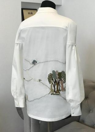 """Белая рубашка с уникальной вышивкой """"шепот деревьев""""2 фото"""