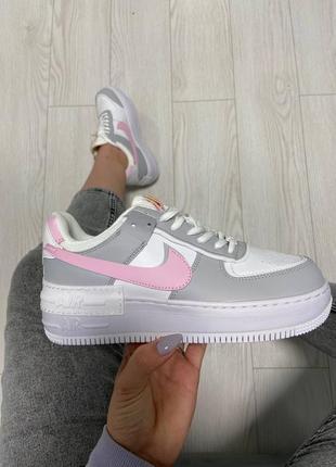 Кросівки nike air force grey pink3 фото