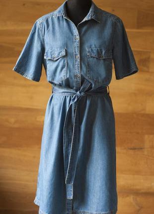 Синее джинсовое коттоновое платье рубашка с коротким рукавом lindex, размер l