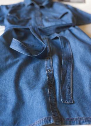 Синее джинсовое коттоновое платье рубашка с коротким рукавом lindex, размер l3 фото