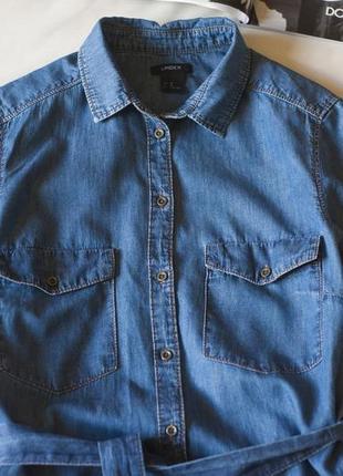 Синее джинсовое коттоновое платье рубашка с коротким рукавом lindex, размер l4 фото