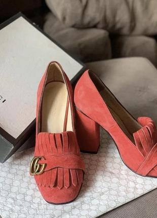 Замшевые красные туфли люкс качество