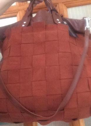 Итальянская кожаная замшевая большая сумка tosca blu
