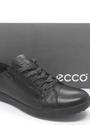 Стильные кожаные черные  кеды полуботинки кроссовки ecco elli оригинал