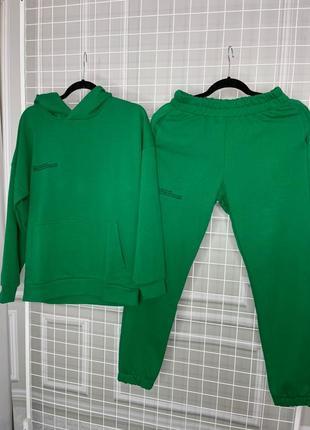 Якісний і стильний зелений спортивний костюм/худі+джогери/трендовый зеленый костюм/худи