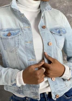 Джинсовый светлый пиджак