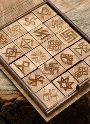 Подарочный набор коричневые резы руны в шкатулке
