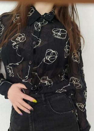 Винтажная полупрозрачная рубашка, рубашка в цветочнвй принт