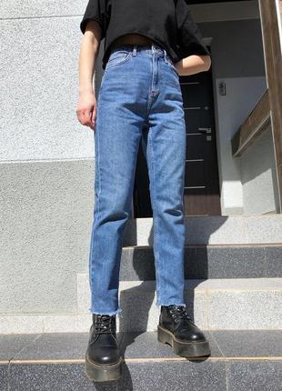 Прямые джинсы mom jeans на высокой посадке topshop moto