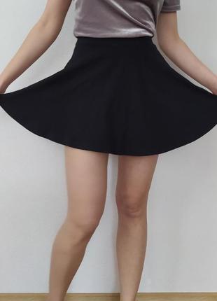 Черная юбка-солнце, трикотажная юбка, юбка на высокой посадке, базовая юбка3 фото