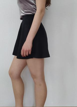 Черная юбка-солнце, трикотажная юбка, юбка на высокой посадке, базовая юбка4 фото
