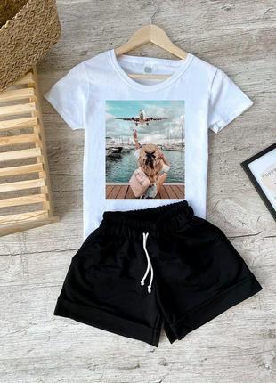 Костюм футболка + шорты котоновый с принтом весенний летний  микки