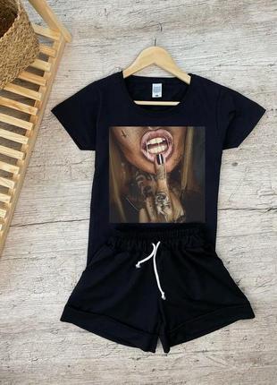 Костюм футболка + шорты с принтом весенний летний  фотопринтом с девушкой дерзкой