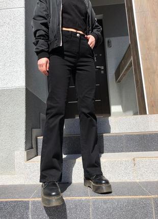 Идеальные чёрные джинсы клёш на высокой посадке
