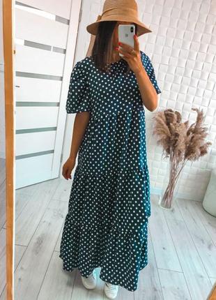 Платье макси в пол,в горошек с рюшами,хит 2021