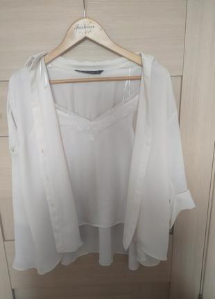 Красивая блузка в бельёвом стиле белая рубашка с майкой