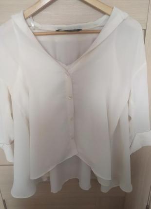 Красивая блузка в бельёвом стиле белая рубашка с майкой2 фото