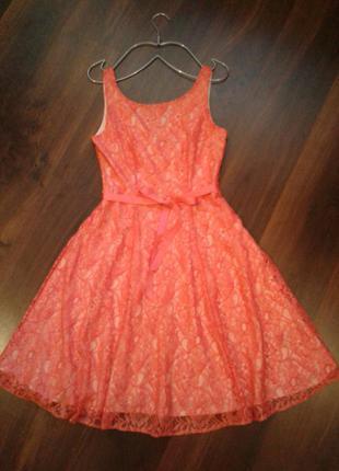 🌺нарядное гипюровое кружевное платье кораллового цвета🌺