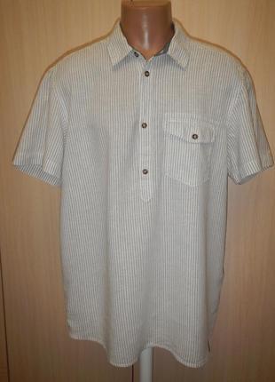 Льняная тенниска рубашка h&m p.xl лен  хлопок