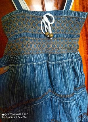 Длинный джинсовый сарафан в пол3 фото
