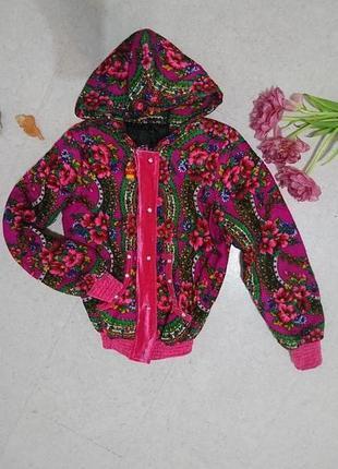 Куртка с цветочным принтом малиновая