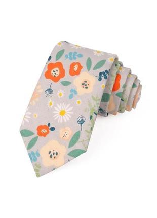 Галстук с цветами имиджевый цветочный принт разноцветный узкий серый нежный
