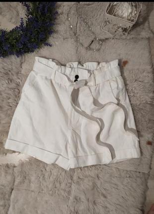 Джинсовые шорты с завышенной талией h&m