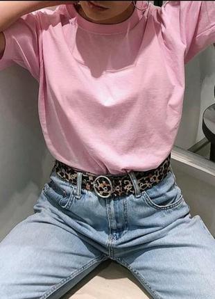 Нежно-розовая хлопковая футболка оверсайз
