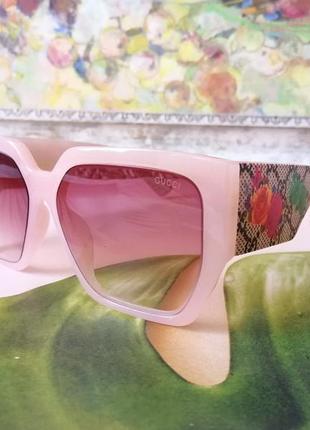 Эксклюзивные солнцезащитные женские очки нюдовые нежно розовые