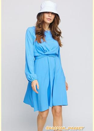 Нежное платье из штапеля. голубой, белый, цветы.