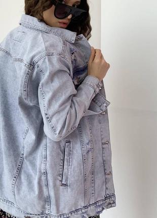 Джинсовка оверсайз жіноча куртка піджак3 фото