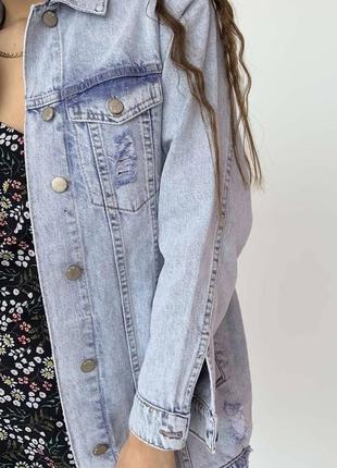 Джинсовка оверсайз жіноча куртка піджак4 фото