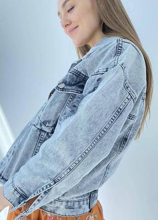 Джинсова куртка оверсайз жіночий піджак4 фото