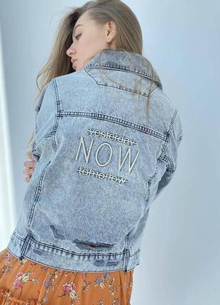 Джинсова куртка оверсайз жіночий піджак3 фото