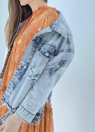 Джинсова куртка оверсайз жіночий піджак8 фото