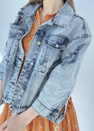 Джинсова куртка оверсайз жіночий піджак7 фото