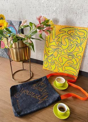 @don.bacon be kind to yourself сумка шоппер джинсовая с оранжевой ручкой с карманом