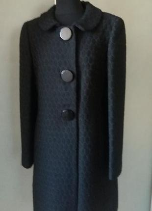 Цена дня!красивое брендовое пальто черное шерсть  clips раз.38-40clips (италия) пог 48
