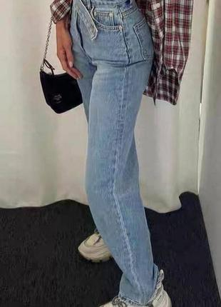 Голубые джинсы палаццо широкие с застёжкой на поясе4 фото