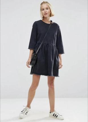 Джинсовое платье topshop черного цвета2 фото