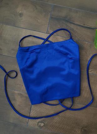 Шикарный трендовый сатиновый атласный синий топ на завязках3 фото