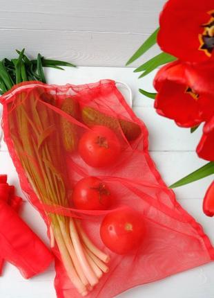 Эко мешок красный, еко мешочки для покупок, эко пакет, сеточка, фруктовка zero weste